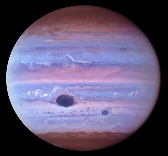 This ultraviolet image of Jupiter was created from data captured on 11 January 2017 using the Wide Field Camera 3 on the Hubble Space Telescope.