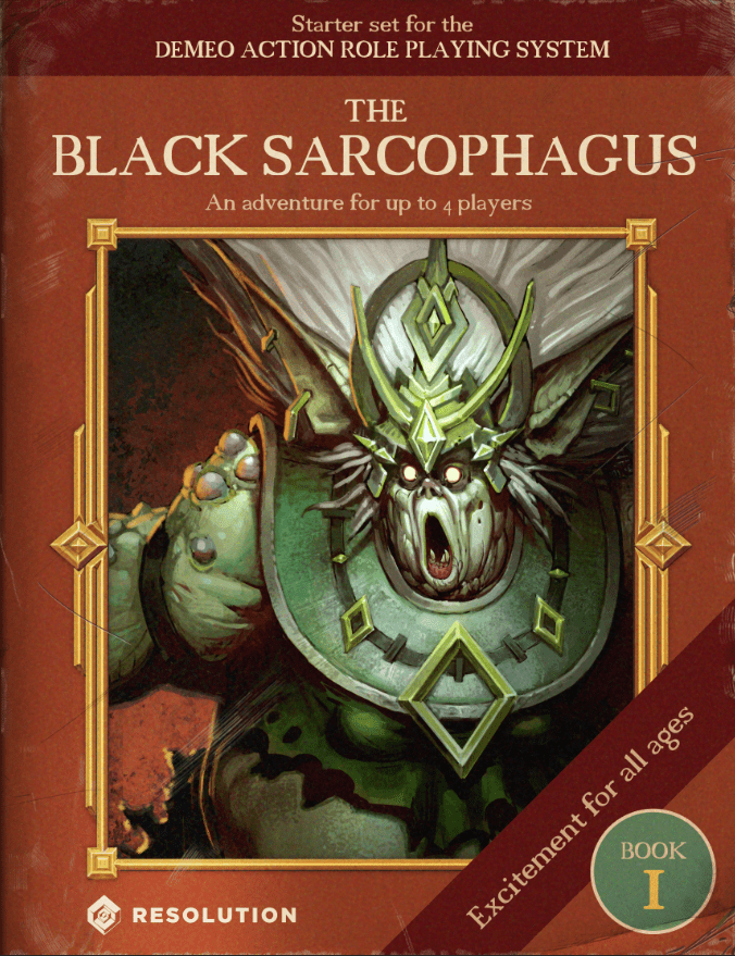 An image advertising the game's included content made to look like an old RPG book cover.