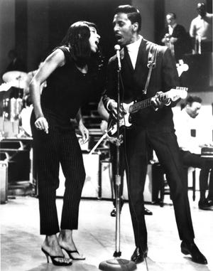 Tina, left, and Ike Turner performing together in 1966.