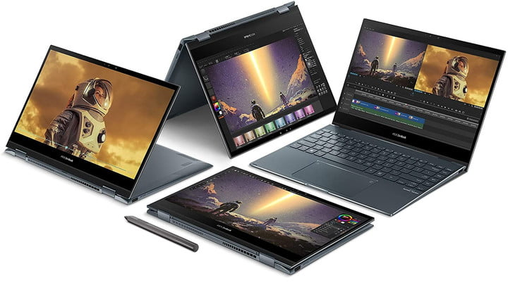 Four of the Asus ZenBook Flip 13 models in different configurations.