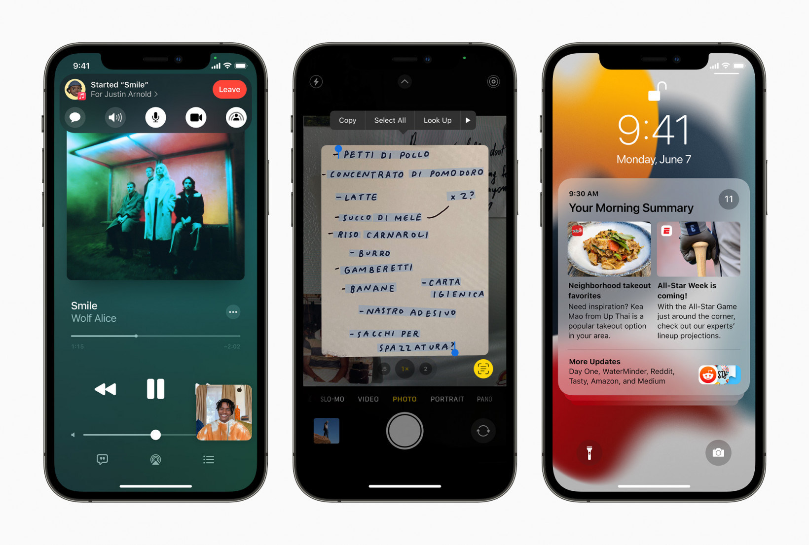 New features coming to iOS 15, including shareplay in FaceTime, Live Text, and the new notifications design