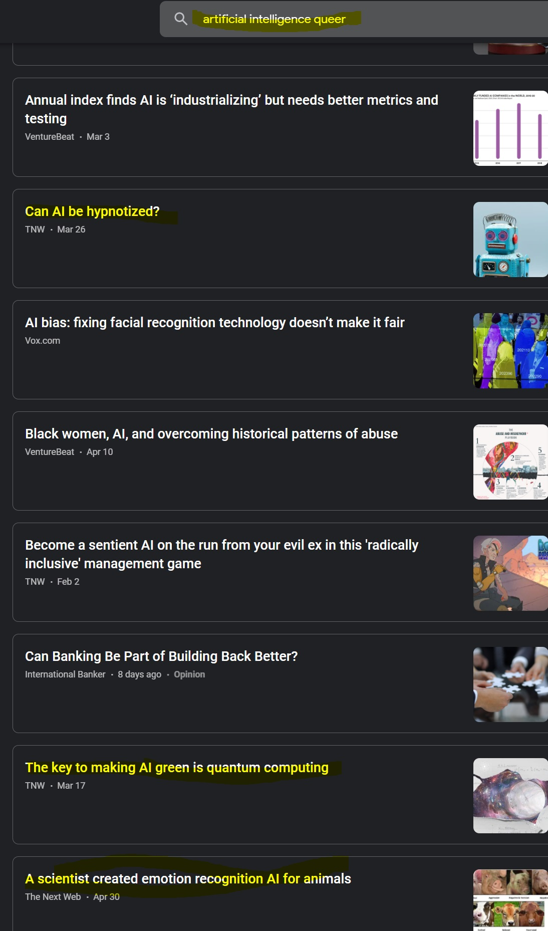 a screenshot of Google News search results