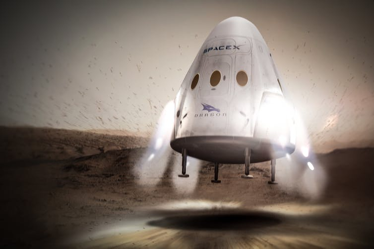 A rocket capsule just about to land on Mars.