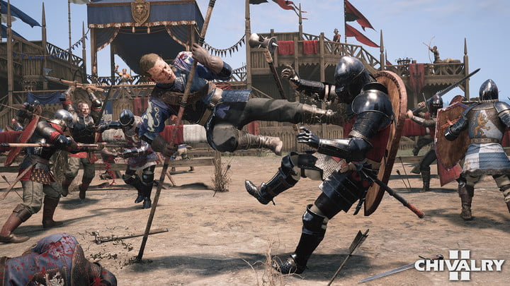 Players fighting one versus one in Chivalry 2.
