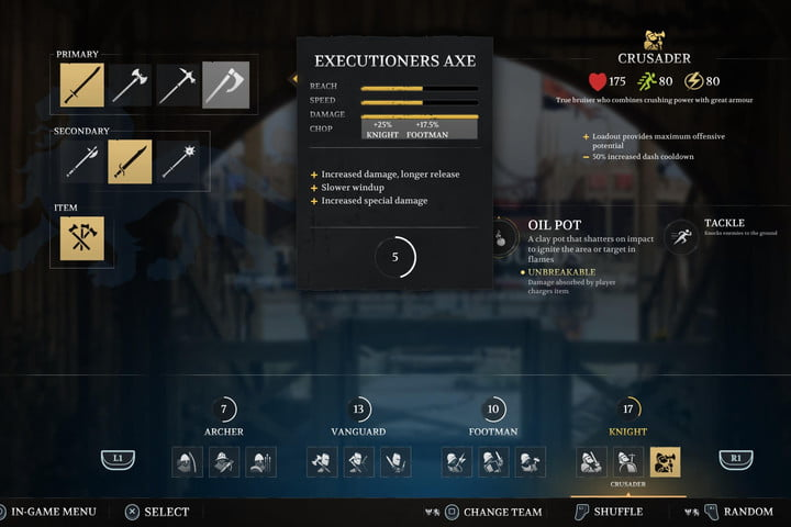 Stats for the Executioners Axe in Chivalry 2.