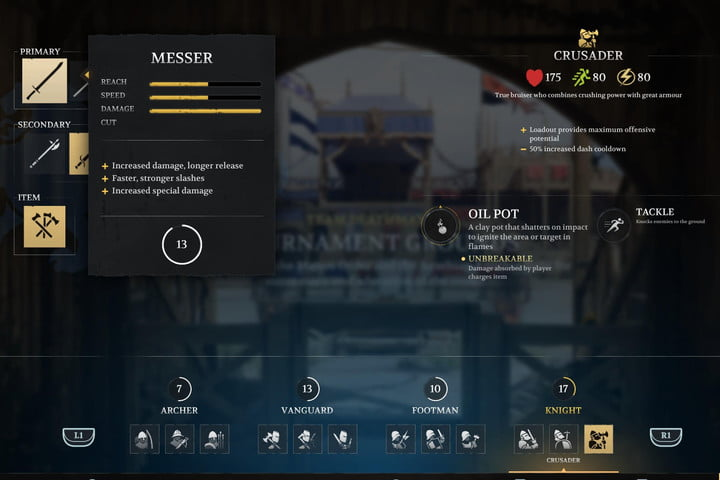 Stats for the Messer in Chivalry 2.
