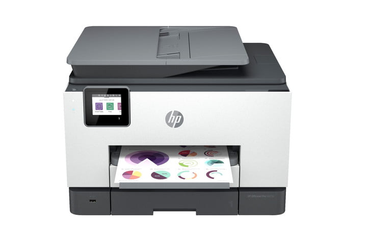 Front view of HP OfficeJet 9025e printer.