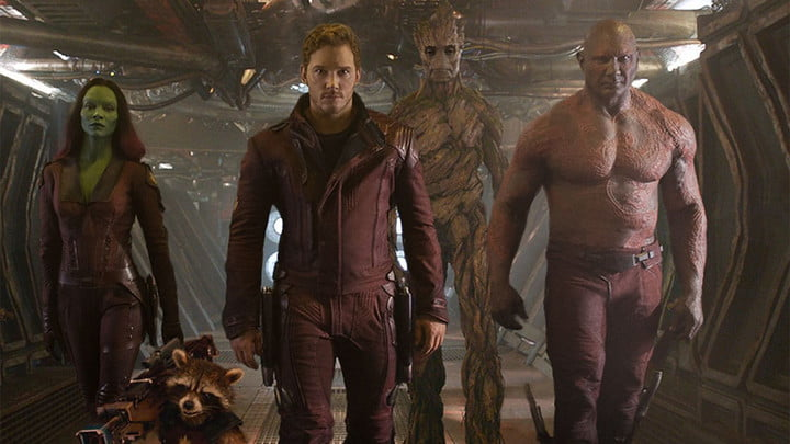 The cast of Guardians of the Galaxy.