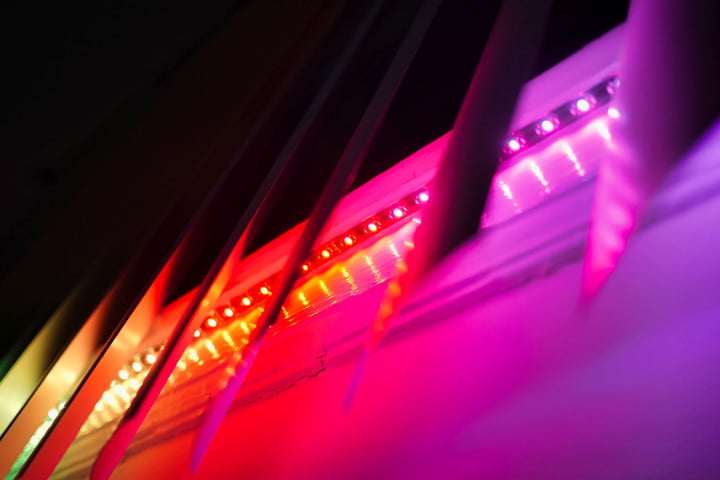 Twinkly Line individual LEDS lighting in different colors.