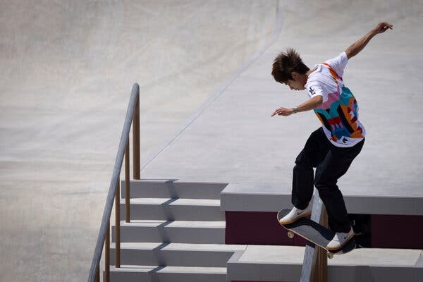 Yuto Horigome of Japan competing in the men's street finals at Ariake Urban Sports Park on Sunday.