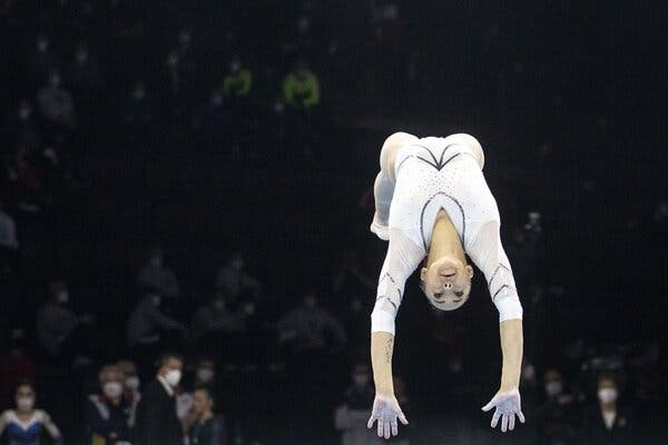 Romania's Larisa Andrea Lordache performing on the floor in April at the women's qualification round of the 2021 European Artistic Gymnastics Championships in the St. Jakobshalle in Basel, Switzerland.