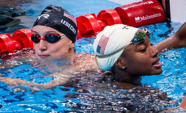 Katie Ledecky &Simone Manuel on Thursday at a swimming training session at the Olympic Aquatic Center in Tokyo, Japan.