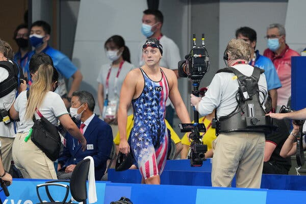Katie Ledecky of the United States after the women's 400-meter freestyle final at the Tokyo Aquatics Center on Monday.