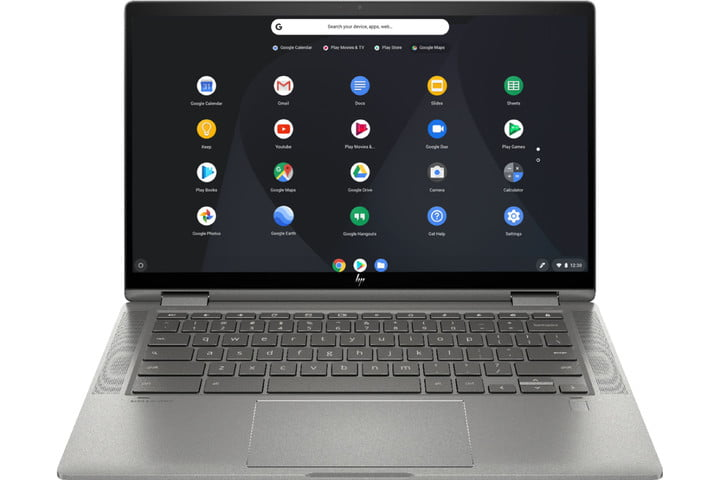 A HP Chromebook 14 2-in-1 Laptop on a white background.