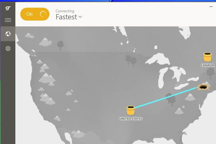 TunnelBear VPN client screenshot which features a map of North America.