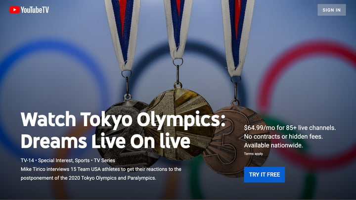 The Olympics page on YouTube TV.