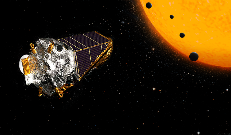 An illustration shows the Kepler telescope in space, next to a star and its planet.