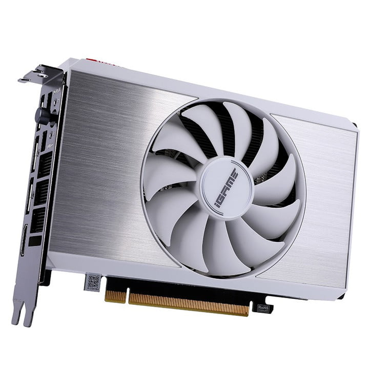 A mini RTX 3060 graphics card by Colorful, featuring a large white fan in the middle and a chrome sleeve.