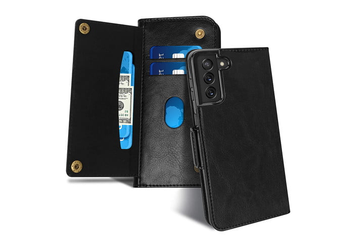 FYY Luxury Leather Wallet Case for Samsung Galaxy S21.