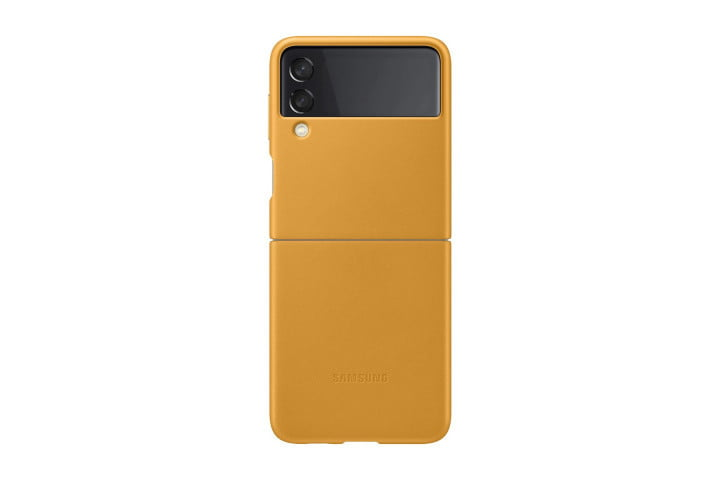 Official Samsung Leather Cover for the Samsung Galaxy Z Flip 3 in Mustard.