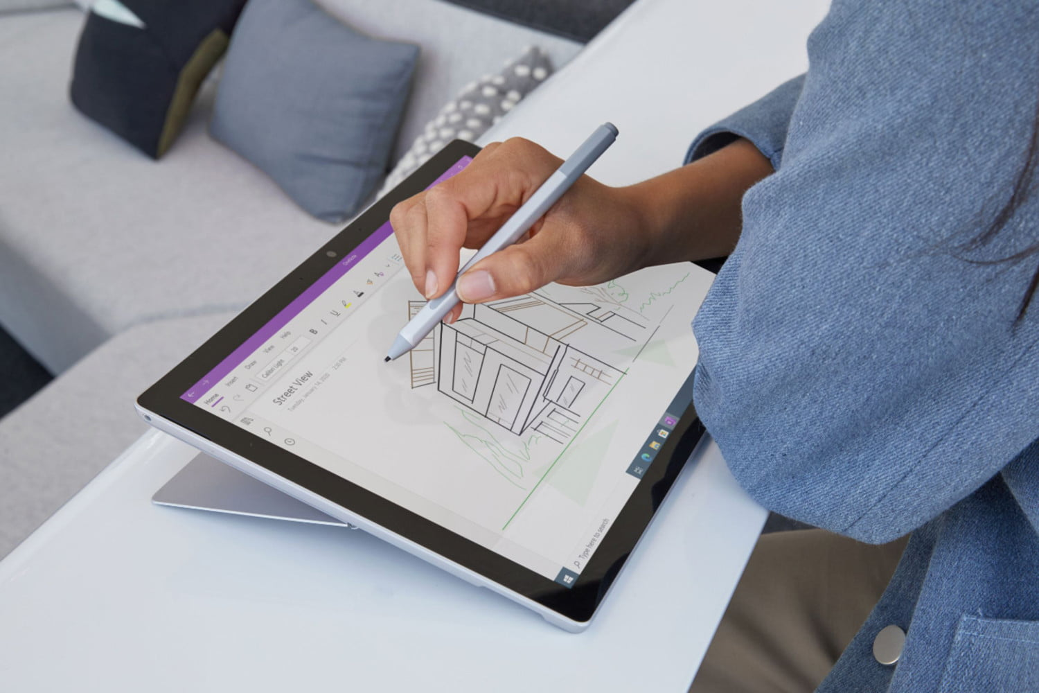 Microsoft Surface Pro 7 in drawing mode.