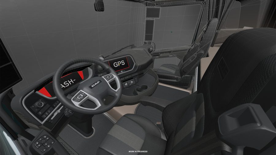 The interior of the DAF XF in Euro Truck Simulator 2