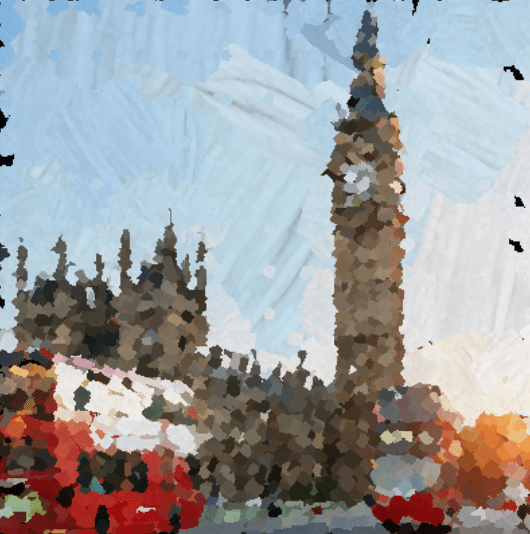 The AI turns photos into paintings.